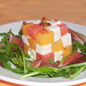 Rubicube de melon, pastèque et feta