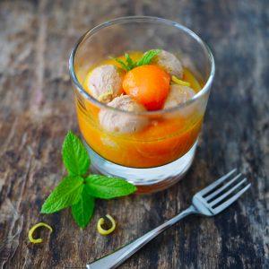 Verrines de billes de melon et foie gras