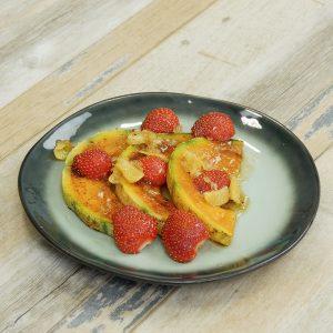 melon plancha fraises acidulés
